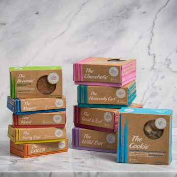 The Whole Shebang - One box each of The Cookie, The Chocoholic, The Wild Oat, The Heavenly Oat, and The Good & Evil, One box each of The Brownie, The Kona, The Mayan, The OMGCB, and The Nutty one