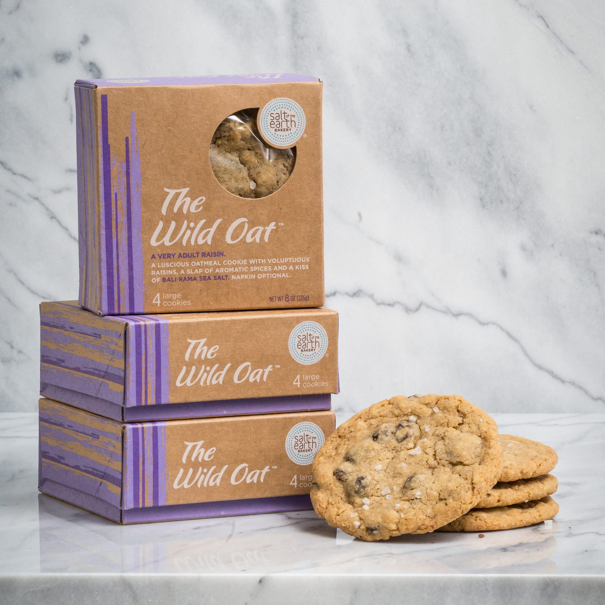 The Wild Oat - A very adult oatmeal raisin. A luscious oatmeal cookie with voluptuous raisins, a slap of aromatic spices, and a kiss of Bali Rama Sea Salt.